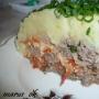 мясной тортик под картофельной